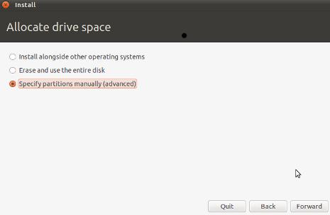 Cara Install Ubuntu 10.10 - Allocate Drive Space