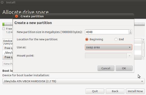 Cara Install Ubuntu 10.10 - Membuat Partisi sda2 Swap