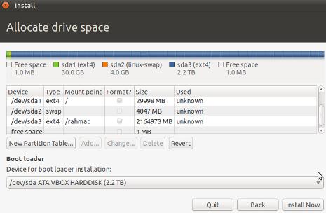 Cara Install Ubuntu 10.10 - Membuat Partisi sda3 rahmat