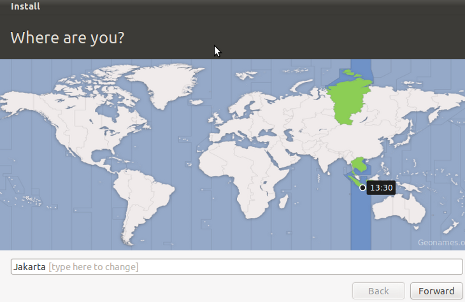 Cara Install Ubuntu 10.10 - Menentukan Lokasi