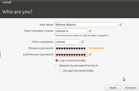 Cara Install Ubuntu 10.10 - Setting Username, Password dan Nama Komputer